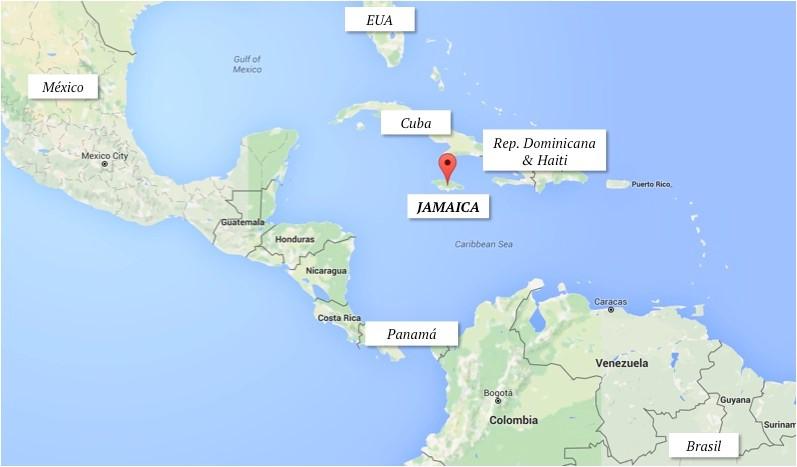 Onde fica a Jamaica no mapa