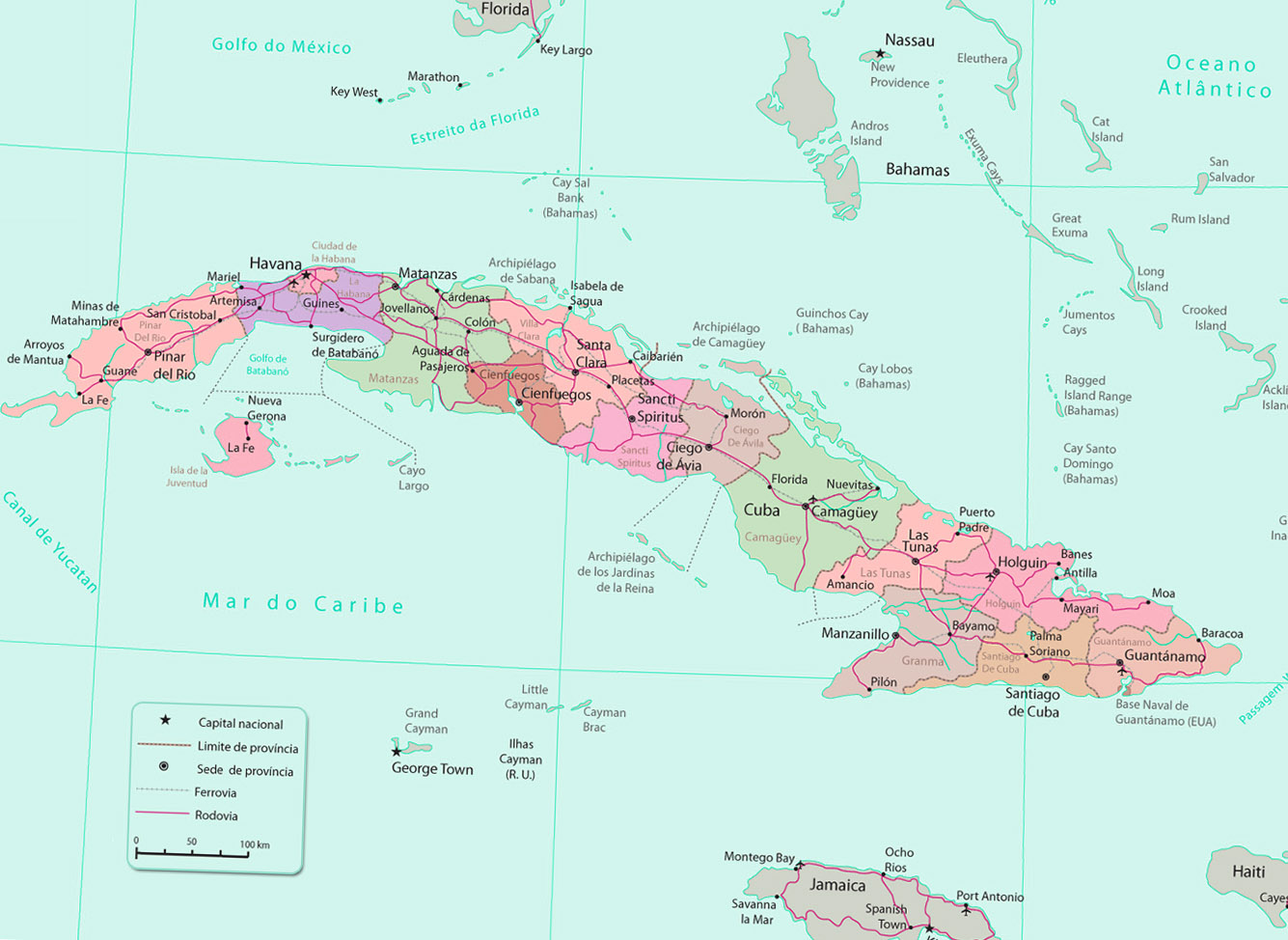 Onde fica Cuba no mapa do Caribe?